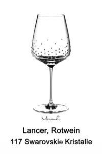 Rotweinglas von Spiegelau® mit 117 Swarovski® Kristallen veredelt, Lancer
