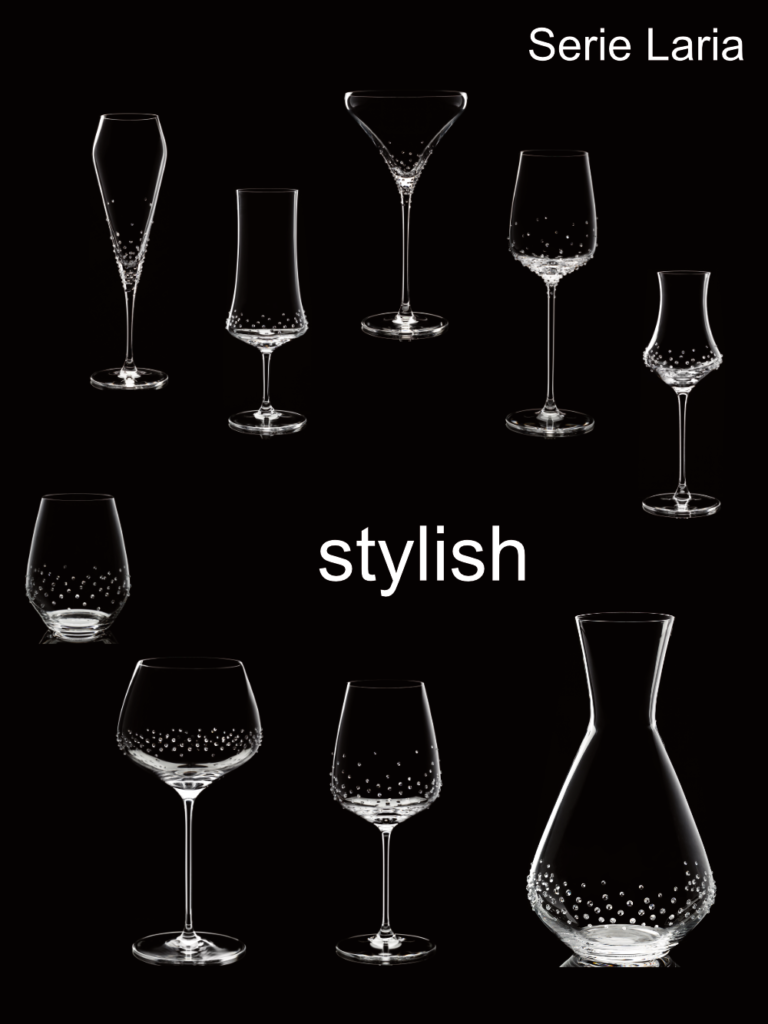 Laria, eleganti bicchieri Spiegelau® da noi raffinatissimi con cristalli Swarovski®.