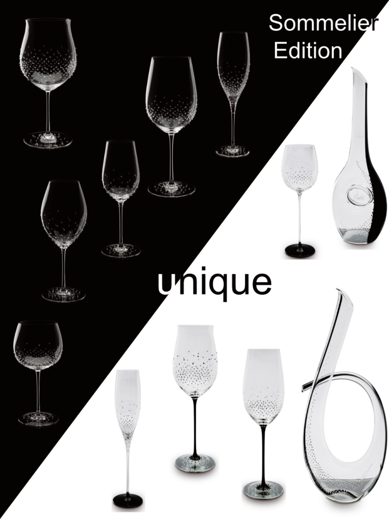 Sonea and Sonea Black, our series of handmade and mouth-blown sommelier glasses from Riedel®. Exclusively refined with Swarovski® crystals.