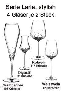 Laria, 4 different glasses each 2 pieces