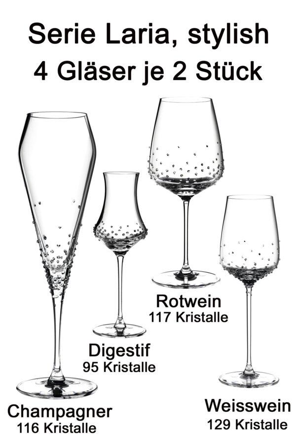 Laria, 4 verschiedene Gläser je 2 Stück