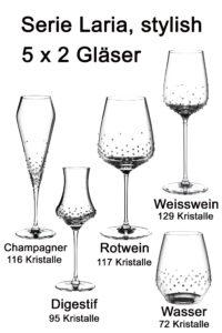 Laria, 5 verschiedene Gläser je 2 Stück