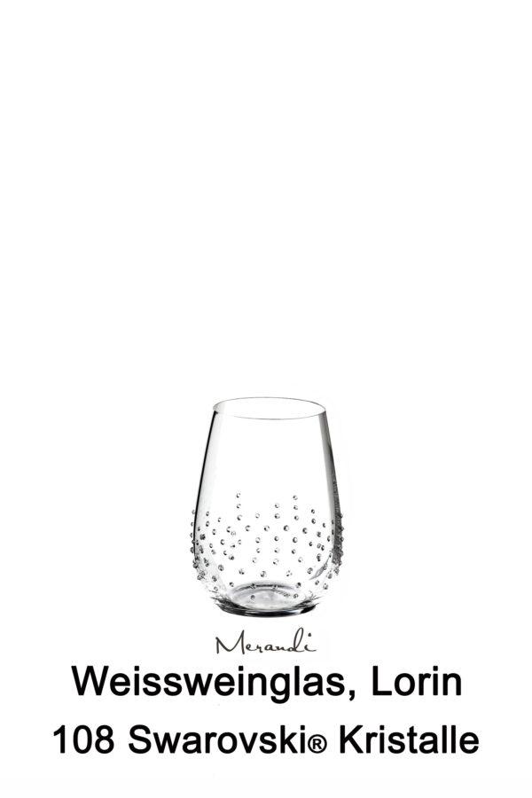 Weisswein- Wasserglas von Riedel® mit 108 Swarovski® Kristallen veredelt, Lorin
