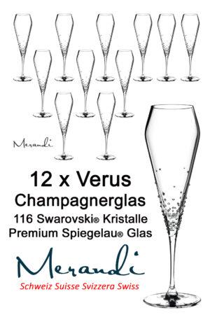 Verre à champagne de Spiegelau® raffiné avec 116 cristaux Swarovski®, Merandi Suisse, Verus.