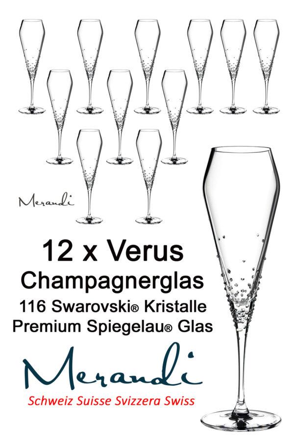 Champagnerglas von Spiegelau® mit 116 Swarovski® Kristallen veredelt, Merandi Schweiz, Verus