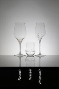 Rotwein-, Wasser- und Weissweinglas, 3er Set Serie Rothen Merandi Schweiz