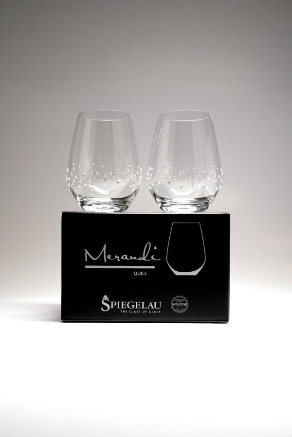Wasserglas, Merandi Schweiz Quill, Spiegelau, Swarovski Kristalle