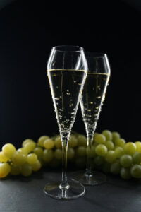 Coppa di champagne Verus, Merandi Svizzera, cristalli Swarovski, Spiegelau, uva
