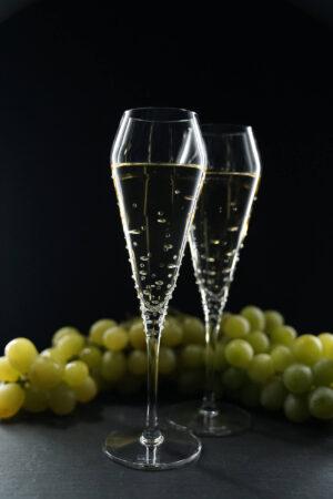 Champagnerglas Verus, Merandi Schweiz, Swarovski Kristalle, Spiegelau, Trauben