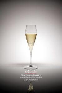 Champagnerglas Arion, Merandi Schweiz, 1 Glas, 500 Swarovski® Kristalle