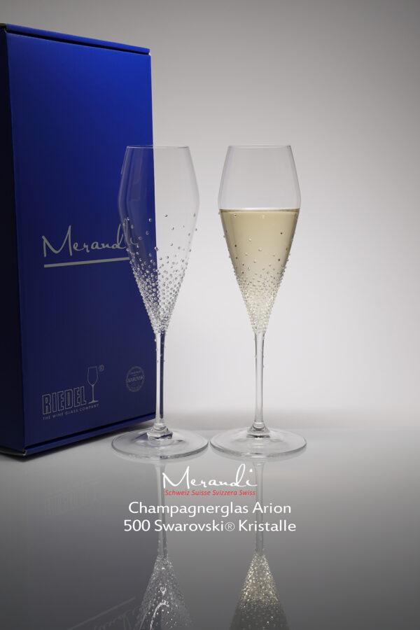Champagnerglas Arion, Merandi Schweiz, 500 Swarovski® Kristalle