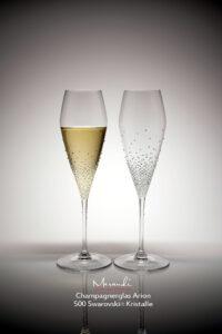 Champagnerglas Arion, Merandi Schweiz, je 500 Swarovski® Kristalle