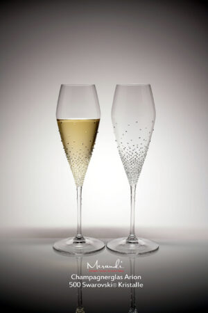 Champagne glass Arion, Merandi Switzerland, 500 Swarovski® crystals each