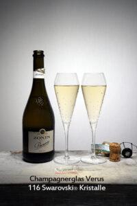 Champagnerglas Verus, Merandi Schweiz, Prosecco, je 116 Swarovski® Kristalle