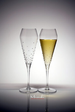 Champagne glass Verus, Merandi Switzerland, 116 Swarovski® crystals