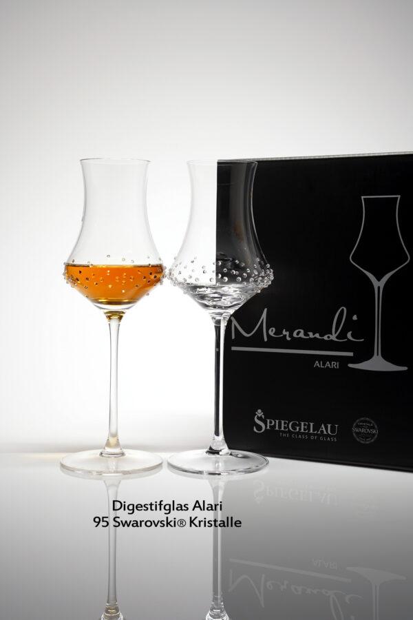 Edelbrand Digestifglas Alari, Merandi Schweiz, 2 Gläser, Packung, 95 Swarovski® Kristalle
