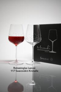 Rotweinglas Lancer, Merandi Schweiz, 2 Gläser, Packung, 117 Swarovski® Kristalle