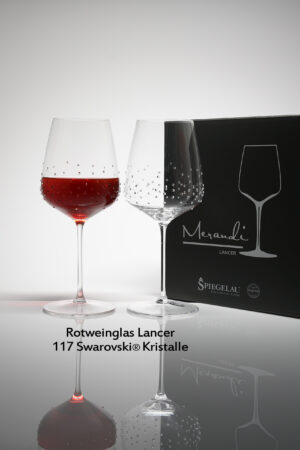 Red wine glass Lancer, Merandi Switzerland, 2 glasses, pack, 117 Swarovski® crystals