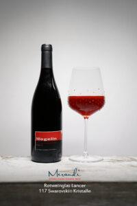 Rotweinglas Lancer, Merandi Schweiz, Swarovski® Kristalle, Pinot Noir Wegelin