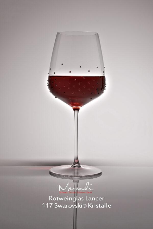 Rotweinglas Lancer, Merandi Schweiz, 117 Swarovski® Kristalle