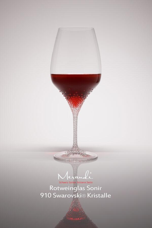 Rotweinglas Sonir, Merandi Schweiz, 910 Swarovski® Kristalle