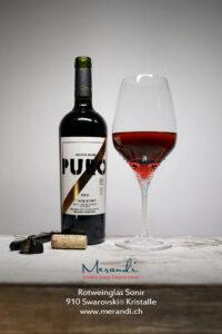 Rotweinglas Sonir, Merandi Schweiz, 910 Swarovski® Kristalle, Puro Dieter Meier