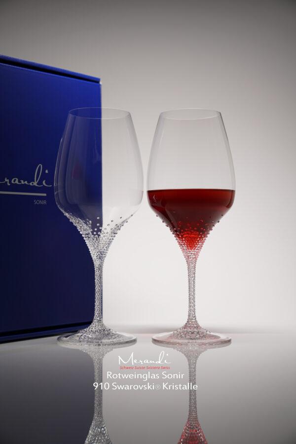 Rotweinglas Sonir, Merandi Schweiz, 2 Gläser je Packung, je 910 Swarovski® Kristalle