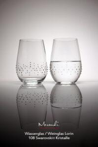 Wasser- Weinglas Lorin, Merandi Schweiz, 2 Gläser, 108 Swarovski® Kristalle