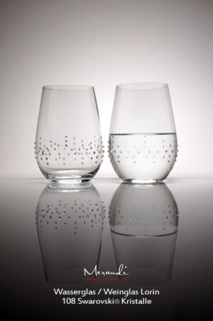 Water- wine glass Lorin, Merandi Switzerland, 2 glasses, 108 Swarovski® crystals