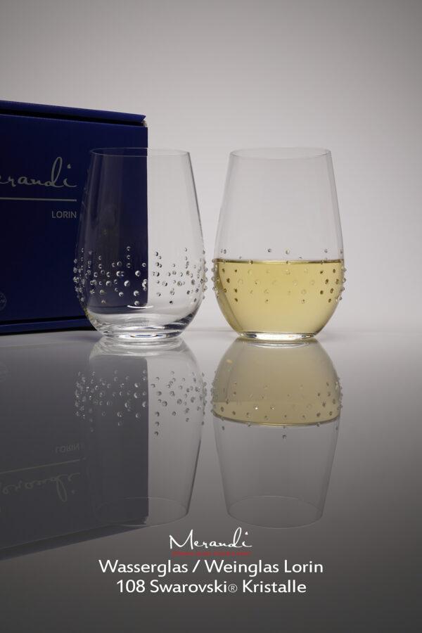 Wasser- Weinglas Lorin, Merandi Schweiz, 2 Gläser, Packung, 108 Swarovski® Kristalle