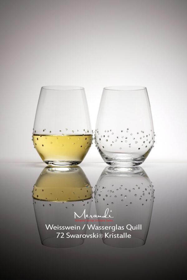 Wasser- Weinglas Quill, Merandi Schweiz, 2 Gläser, 72 Swarovski® Kristalle