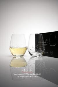 Wasser- Weinglas Quill, Merandi Schweiz, 2 Gläser, Packung, 72 Swarovski® Kristalle