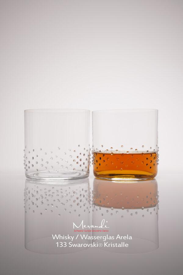 Wasser- Whiskyglas Arela, Merandi Schweiz, 2 Gläser, je 133 Swarovski® Kristalle