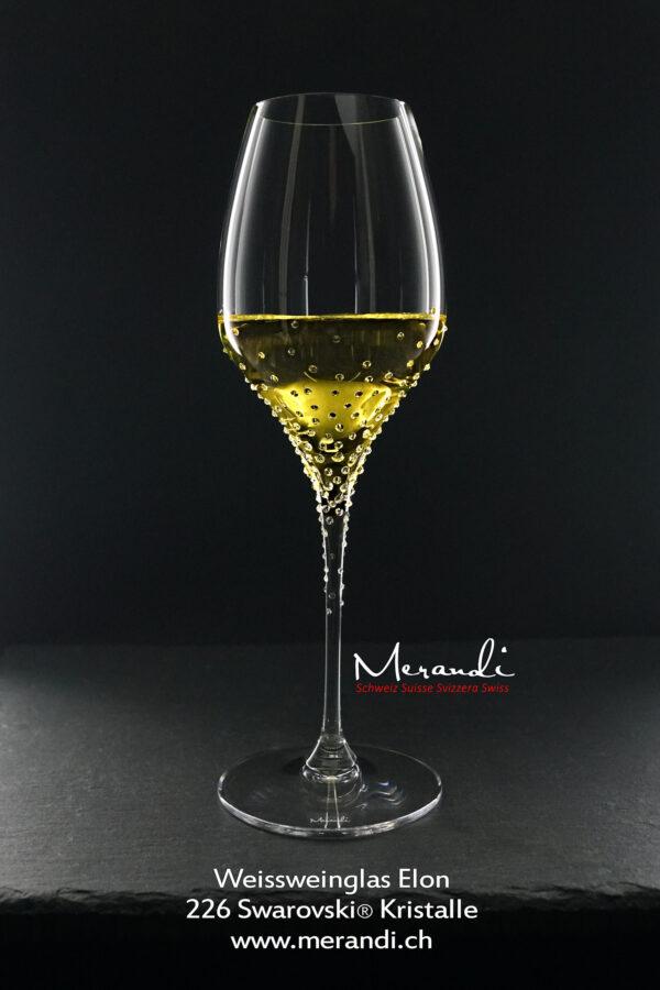 Weissweinglas Elon, Merandi Schweiz, 226 Swarovski® Kristalle,