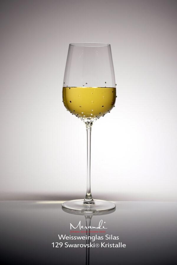 Weissweinglas Silas, Merandi Schweiz, 129 Swarovski® Kristalle