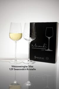 Weissweinglas Silas, Merandi Schweiz, 2 Gläser, Packung, 129 Swarovski® Kristalle