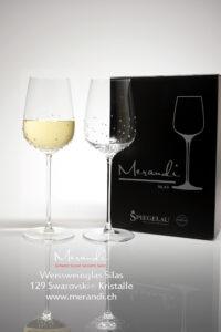 Weissweinglas Silas, Merandi Schweiz, 129 Swarovski® Kristalle, 2 Gläser Packung