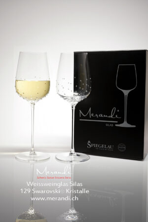 White wine glass Silas, Merandi Switzerland, 129 Swarovski® crystals, 2 glasses pack