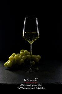 Weissweinglas Silas, Merandi Schweiz, 129 Swarovski® Kristalle, Trauben