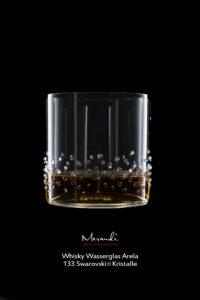 Verre à whisky et verre à eau Arela, Merandi Suisse, 133 cristaux Swarovski®.