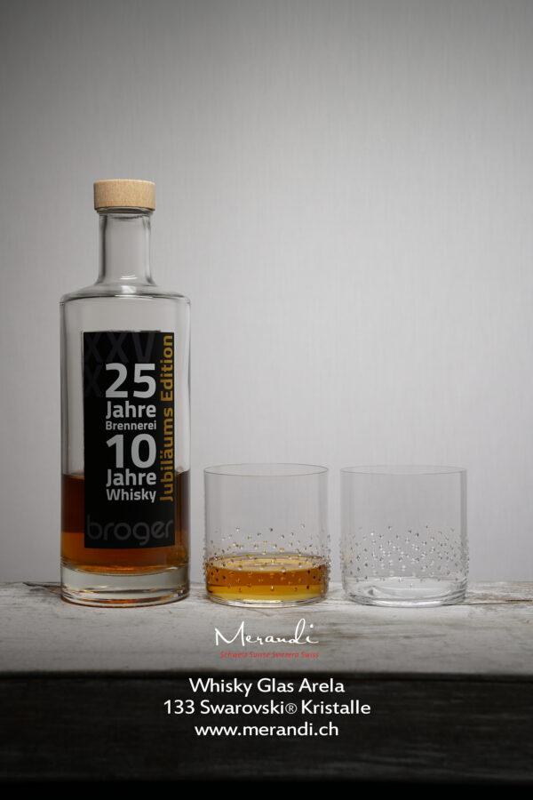 Whiskyglas Arela, Merandi Schweiz, 133 Swarovski® Kristalle, Broger Whisky