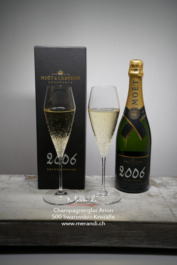 Arion Champagnerglas, Merandi Schweiz, 500 Swarovski® Kristalle, Moet Chandon 2006