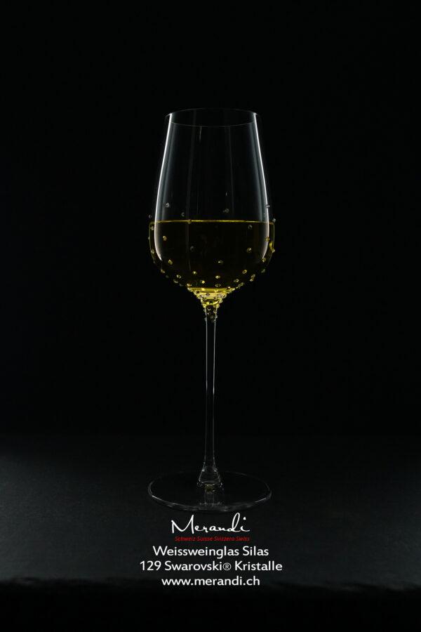 Weissweinglas Silas, Merandi Schweiz, 1 Glas, 129 Swarovski® Kristalle