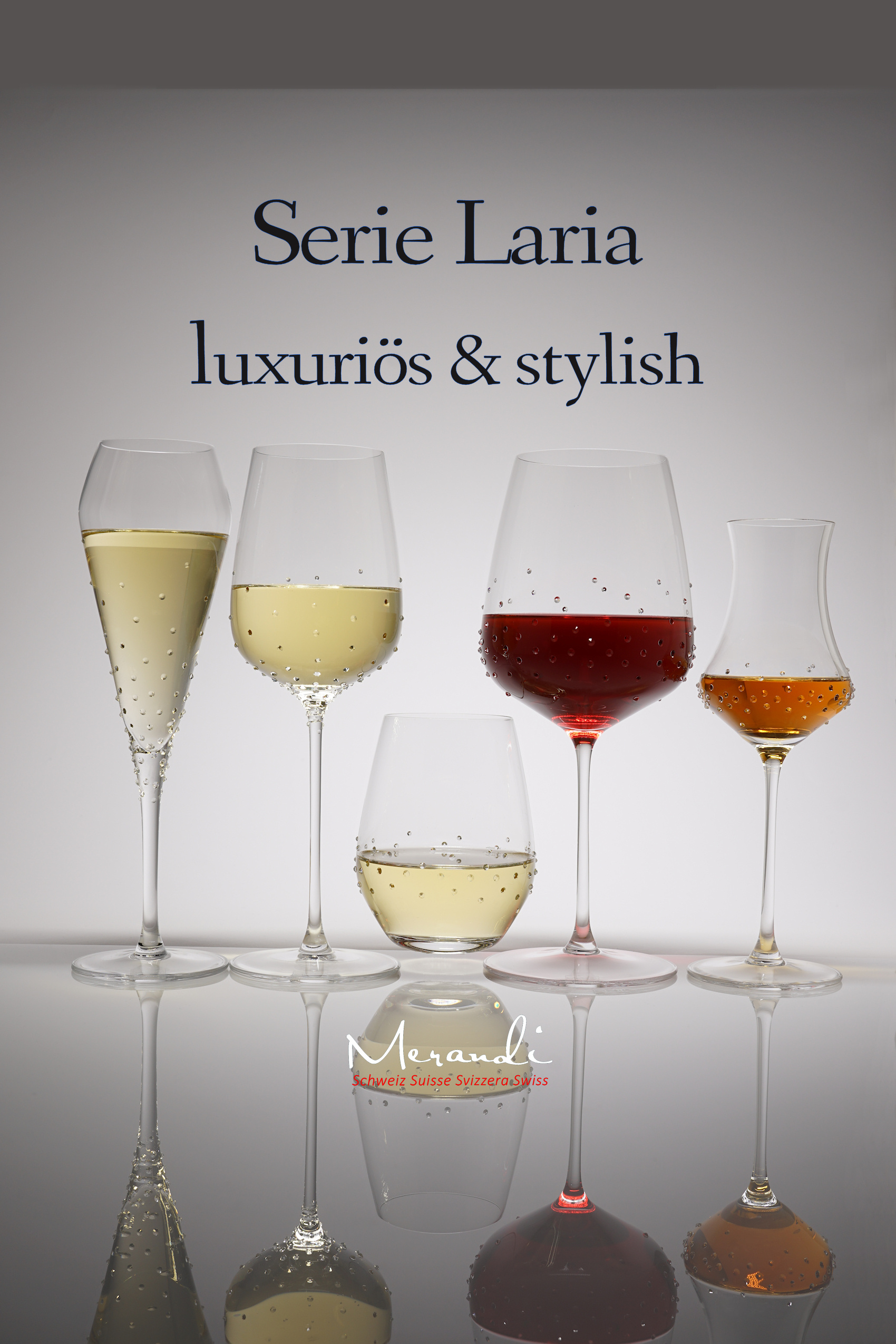 Laria glass series, Merandi Switzerland, Spiegelau® glasses refined with Swarovski® crystals