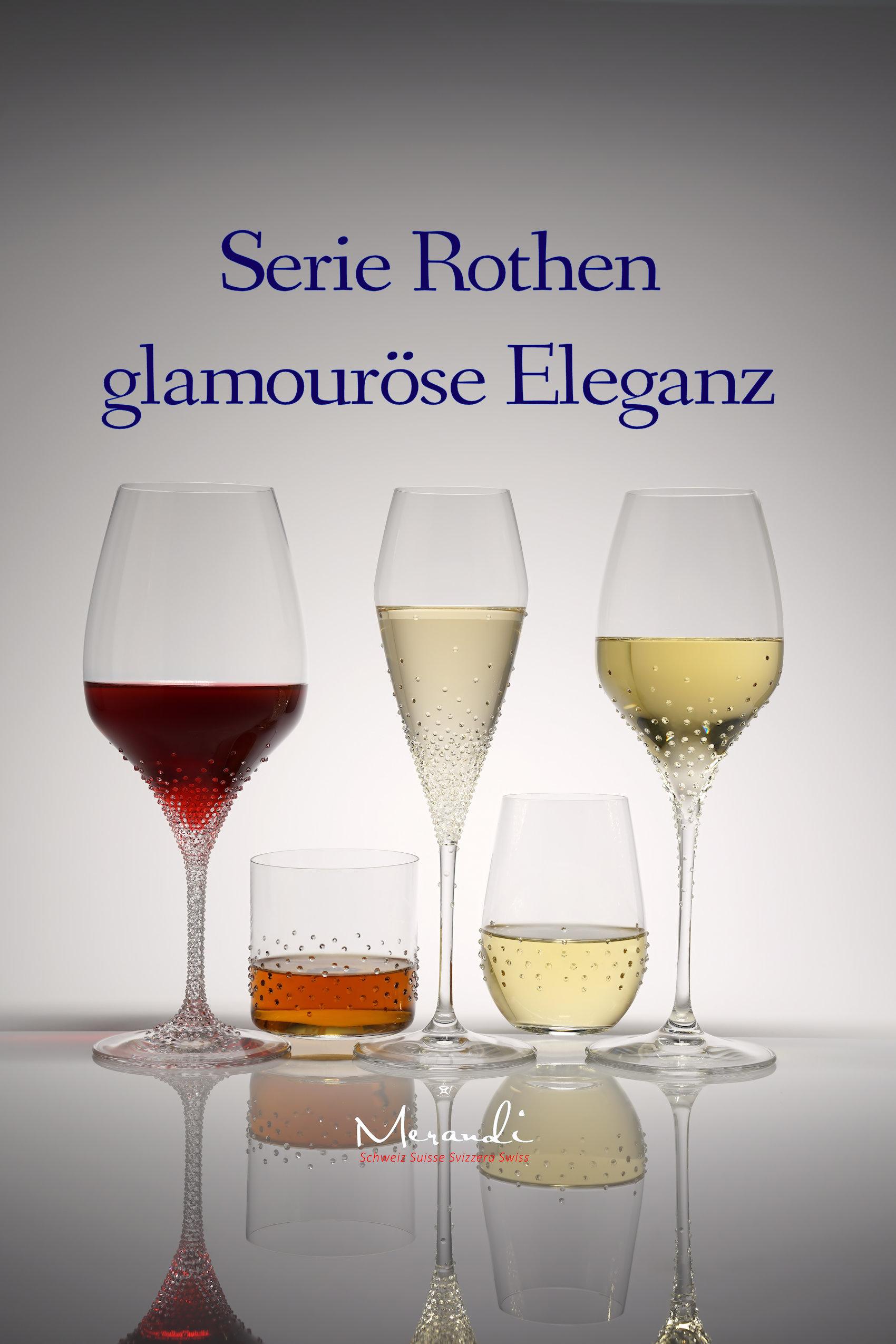 Série de verres Rothen, Merandi Suisse, verres Riedel® affinés avec des cristaux Swarovski®